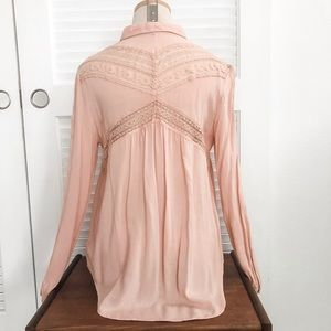Free People Lace Trimmed Blouse